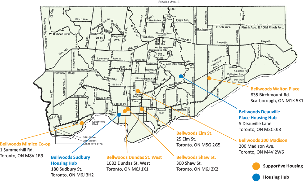Map of Bellwoods Supportive Housing Sites and Housing Hubs locations
